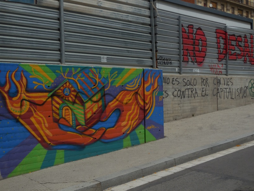 """It's not just for Can Vies, its against capitalism"" Mural near CanVies"